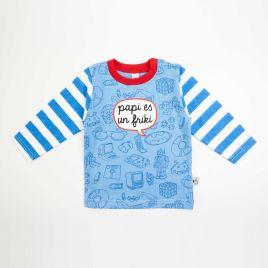 Camiseta bebé FRIKI azul rayas azules
