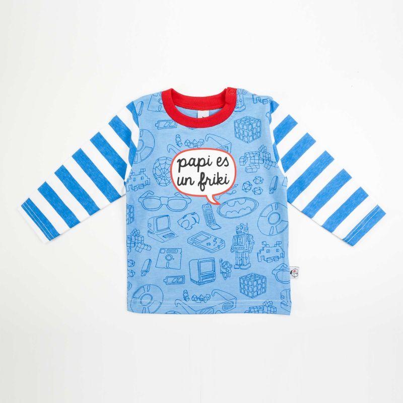 Camiseta bebé FRIKI azul ml